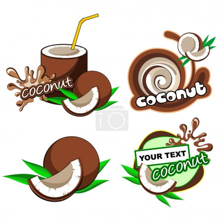 Set of labels with coconut
