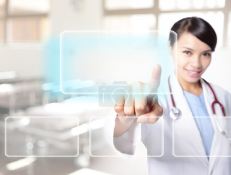 doctor woman touch empty button