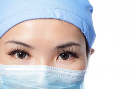serious woman doctor surgeon face
