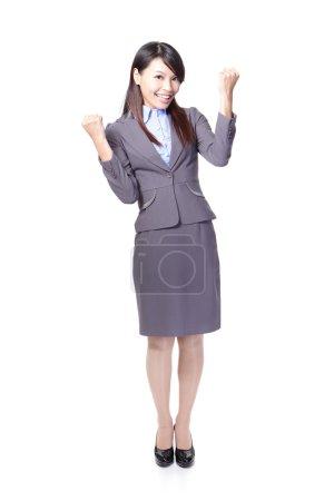 Happy Success winner business woman