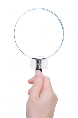 hand holding classic magnifying glass