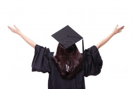 back view of graduate student girl hug future