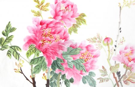 Photo for Peony flower,Traditional chinese ink and wash painting. - Royalty Free Image