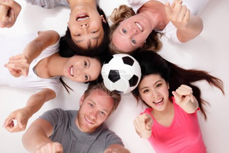 Happy Group of friends with soccer ball