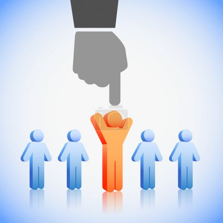 Illustration pour Concept de ressources humaines : choisir le candidat idéal pour le poste - image libre de droit