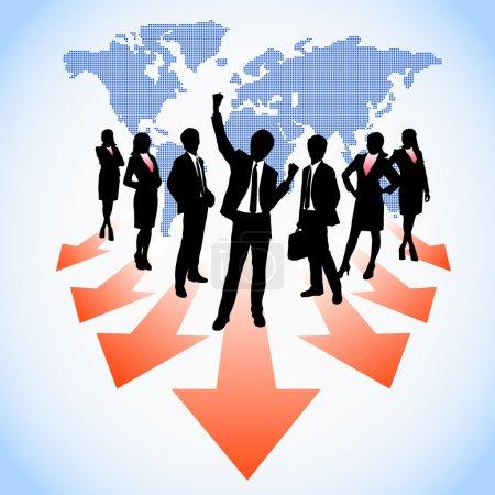 Illustration pour Les hommes d'affaires mondiaux des ressources humaines travaillent en équipe depuis la carte du monde - image libre de droit