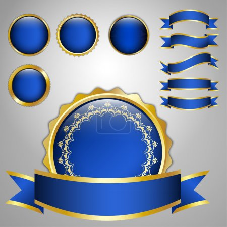 Illustration for Set of vector ribbons and badges with place for text - Royalty Free Image