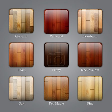 Set of wood icons