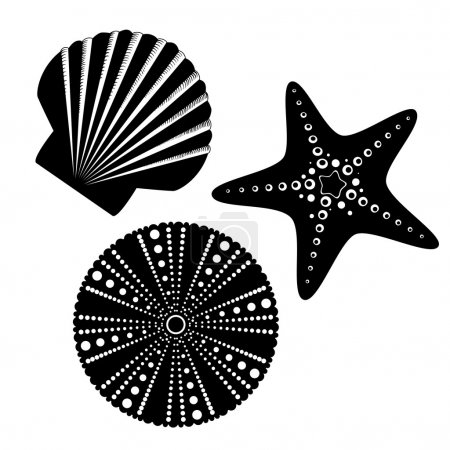 Sea life silhouettes set