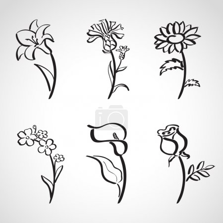 Ink style sketch set - summer flowers