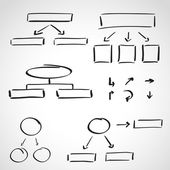 Ink style hand drawn sketch set - info graphics