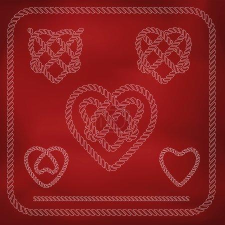 Heart shape rope knots