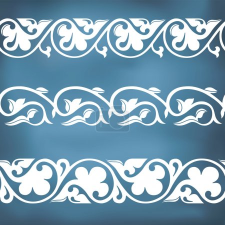Seamless floral tiling borders