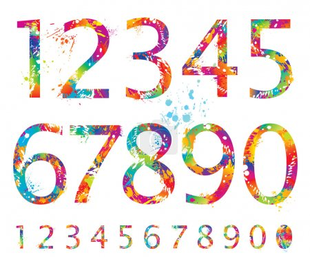 Illustration for Font - Colorful numbers with drops and splashes from 0 to 9. Vector illustration. - Royalty Free Image