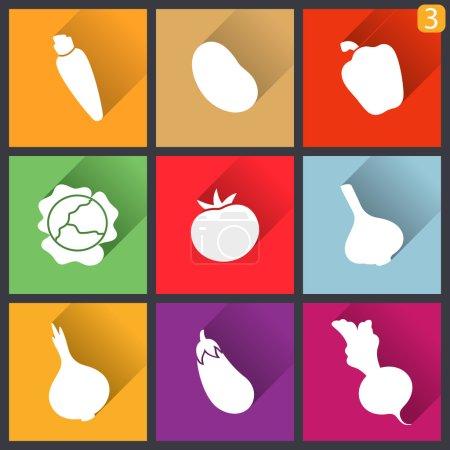 Illustration pour Icônes de design plat. Ensemble de légumes. Illustration vectorielle . - image libre de droit