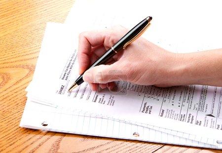 Filling out a 1040 EZ tax form