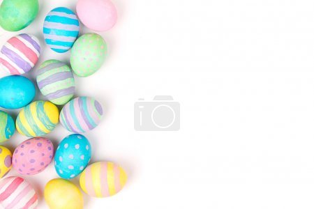 Photo for Easter eggs painted in pastel colors on a white background - Royalty Free Image