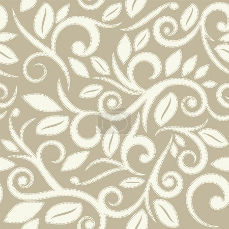 Illustration for Beige tan or cream floral seamless pattern with dots square layout for scrapbooking - Royalty Free Image