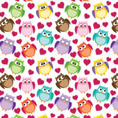 Seamless owl pattern with hearts