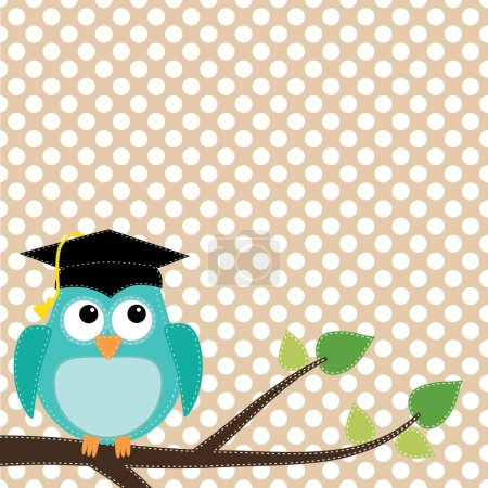 Illustration for Owl with graduation cap sitting on branch, for scrapbooking, vector format on transparent background. - Royalty Free Image