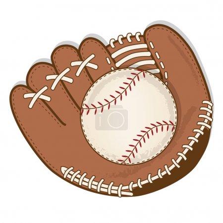 vintage baseball and baseball glove or mitt