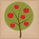 Apple tree in shape of circle on polka dot backgro...