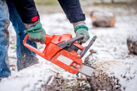 Photo pour Gros plan du bois de chauffage coupe travailleur masculin actif provenant d'arbres enneigés en hiver - image libre de droit