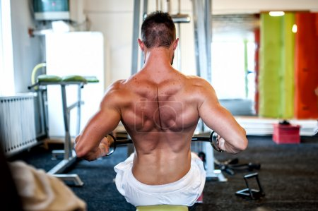 Muscular man on daily workout routine at gym, close-up of back exercise
