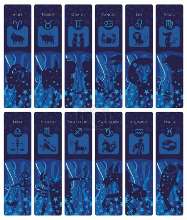 Illustration for Bookmarks set with the European zodiac signs and symbols - Royalty Free Image