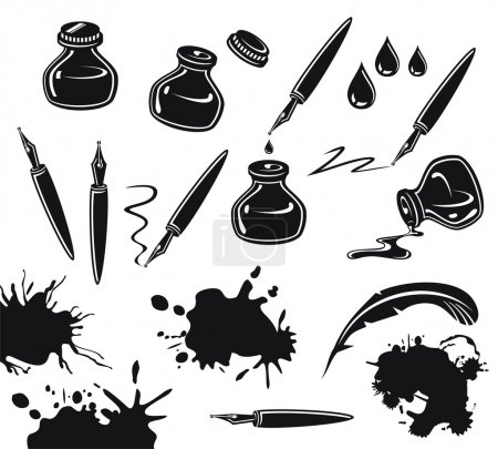 Illustration for Black and white set with pens, ink pots and spills - Royalty Free Image