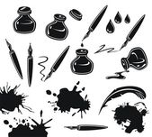 Black and white set with pens ink pots and spills