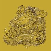 Sketched cartoon of a thinking chimpanzee with crossed arms