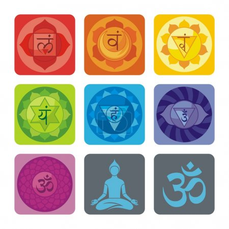 Photo pour Ensemble spirituel avec les chakras et les icônes d'yoga - image libre de droit