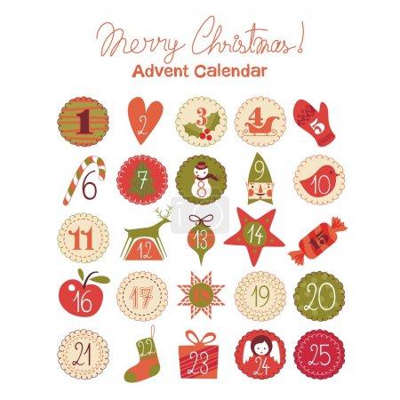 Photo pour Calendrier de l'Avent avec divers objets et symboles saisonniers - image libre de droit