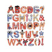 Colorful funny alphabet set with party theme
