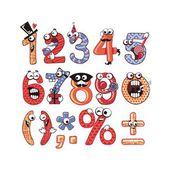 Funny happy numbers set with party theme