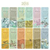 2015 Calendar set with vertical banners or cards Week starts on Sunday