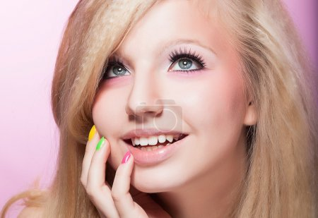 Photo for Closeup Portrait of Happy Toothy Smiling girl Blond Hair - Royalty Free Image