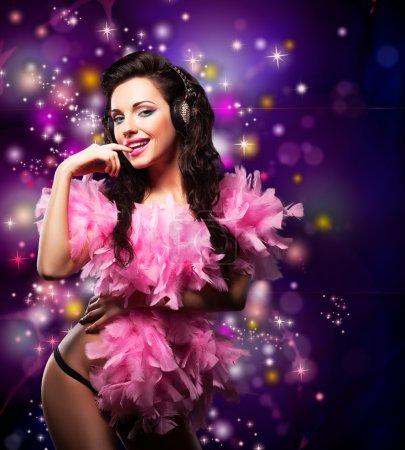 Sparking. Shiny Happy Woman Dancing - Fancy Dress Party. Disco Lights