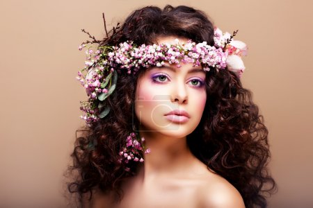 Photo for Luxuriant. Femininity. Fashion Model with Classic Wreath of Flowers - Royalty Free Image