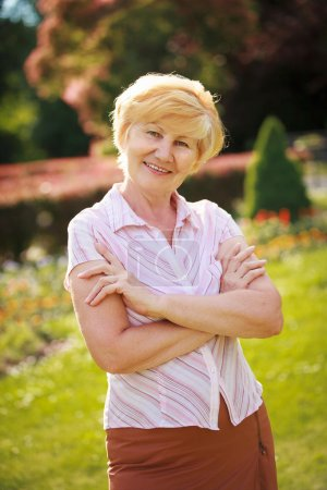 Photo for Certitude. Confident Trendy Senior Woman Pensioner with Crossed Arms - Royalty Free Image
