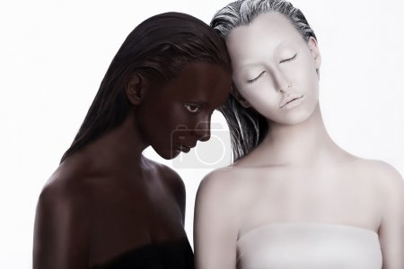 Photo for Multiracial Multicultural Concept. Ethnicity. Women Colored Brown and White. Devotion - Royalty Free Image