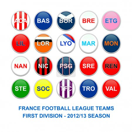 France first division football league teams buttons
