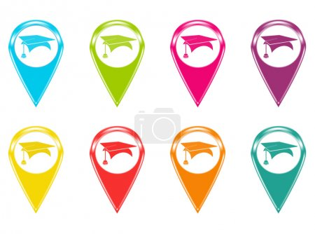 Set of icons or colored markers with graduation symbol