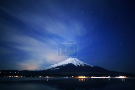 Mount Fuji and Lake Yamanaka at night.
