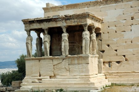 View of statues at the Acropolis