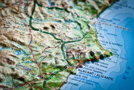 Road map of Costa Blanca Alicante, Spain