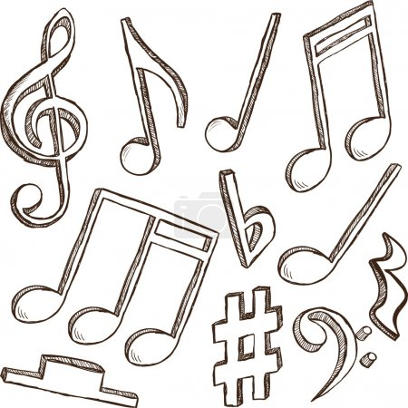 Illustration for Illustration of 3d notes and clefs - hand drawn style - Royalty Free Image