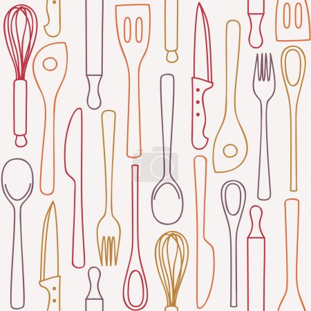 Kitchen and cooking utensils and cutlery - seamles...