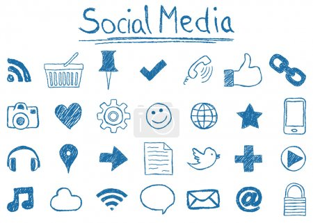 Illustration for Illustration of Social Media Icons, hand-drawn style - Royalty Free Image
